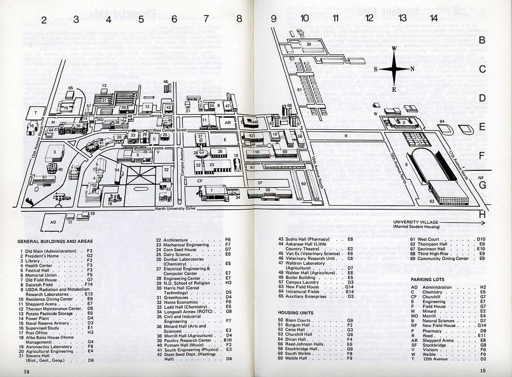 North Dakota State University campus map, 1974 | North Dakot… | Flickr