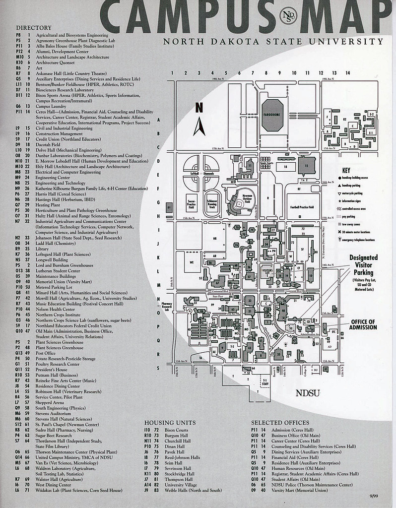 North Dakota State University campus map, 1999 | North Dakot… | Flickr