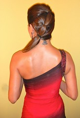 Red & Black Beaded shoulder dress - Brooke Burke - DANCING WITH THE STARS behind the scenes (2)