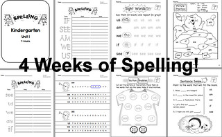 Spelling for Kindergarten Unit 1 Preview | by CHSH-Teach