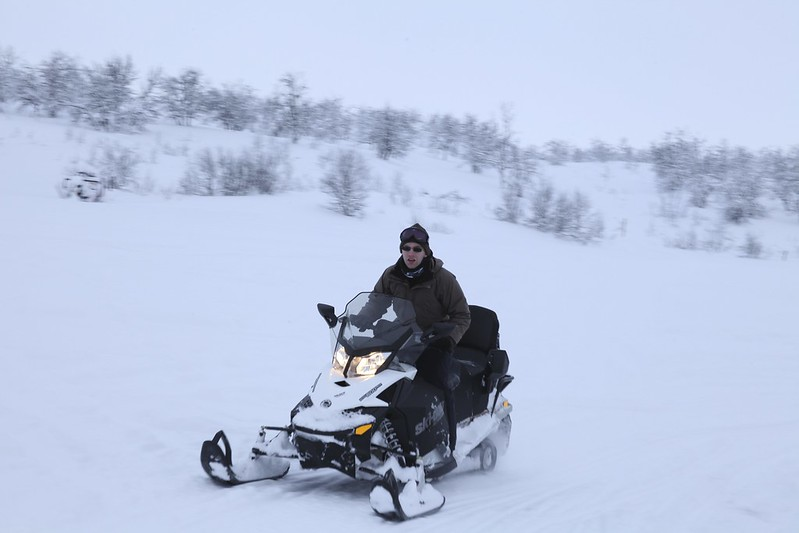 Me driving a snow scooter