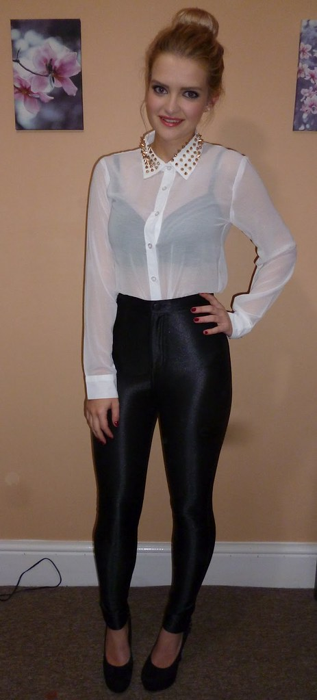 543f8a3b ... Sheer white button up blouse & black high waisted pants | by ejt1977