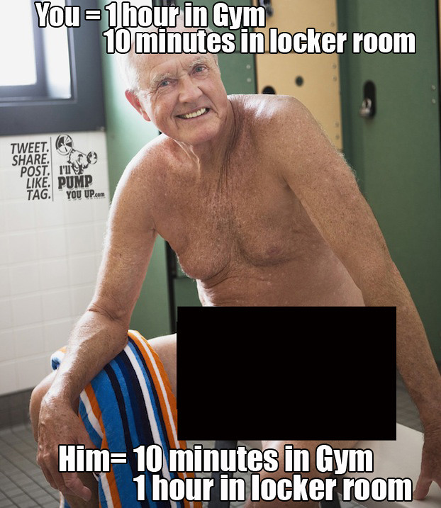 Old men in the gym smiling senior man wearing swimsuit in