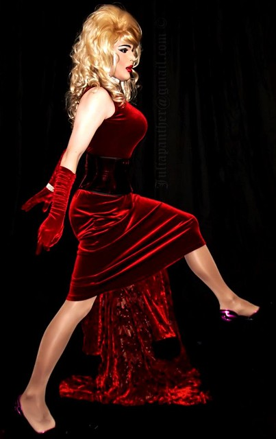 Read velvet corset, gown, gloves, heels and pantyhose