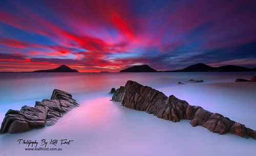 ocean longexposure blue red sky sun colour water clouds sunrise fire sand nikon rocks australia le nsw portstephens shoalbay littlebeach kiallfrost d800e