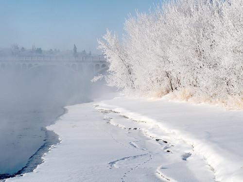 olympus omd em5 winter frost hoarfrost river saskatchewanriver bridge wow