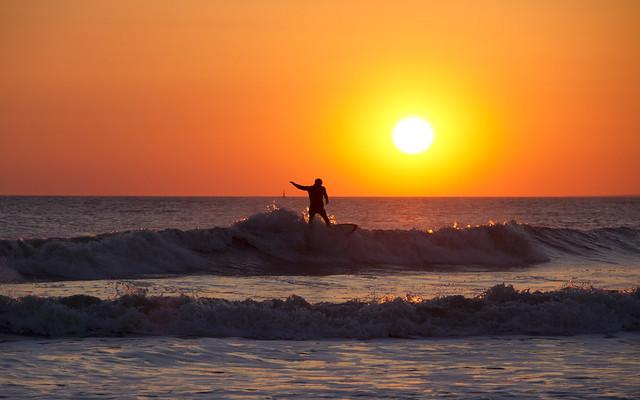 Sunset surf at Rest Bay
