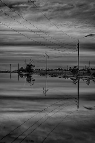 sunset blackandwhite bw reflection clouds nikon australia powerlines adelaide southaustralia cloudporn leadinglines mawsonlakes stobie niksoftware