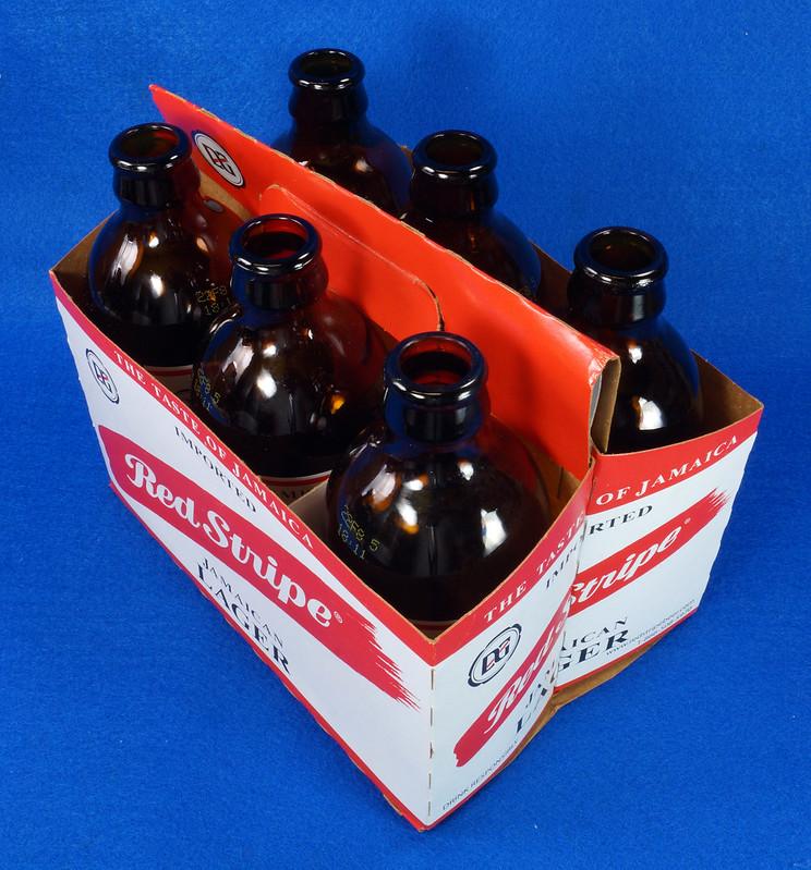 RD14201 6 Red Stripe 12 oz Brown Stubby Beer Bottles in Original 6 Pack Carton DSC05343