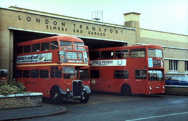 86-308 The last day of services from Elmers End Garage;  Preserved RT1702 (KYY 529) and Daimler Fleetline DMS2489  (THX 489S)