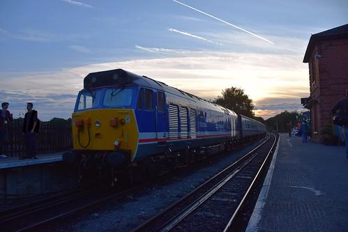 northwealdstation eppingongarrailway trains heritage railway engine diesels locomotive loco diesel rail class50 sunset sky