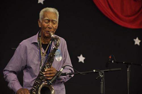 Kidd Jordan in the WWOZ Jazz Tent on Day 3 of Jazz Fest - Sunday, April 29, 2018. Photo by Leona Strassberg Steiner.