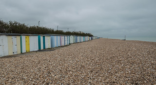 Aldwick Beach Huts on a dull day In May