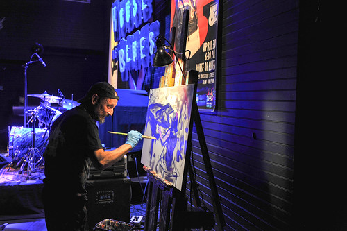 Frenchy painting onstage at WWOZ's 30th Annual Piano Night - April 30, 2018. Photo by Michael E. McAndrew Photography.