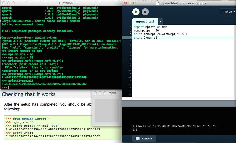 mpmath mit Anaconda-Python und Processing py | Screenshot | Jörg