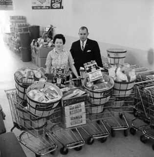 May, 1965 -- Mr. and Mrs. Louis Belcher with their loot from a ten-minute shopping spree at Wrigley's Supermarket on West Stadium. | by In Memoriam: Wystan