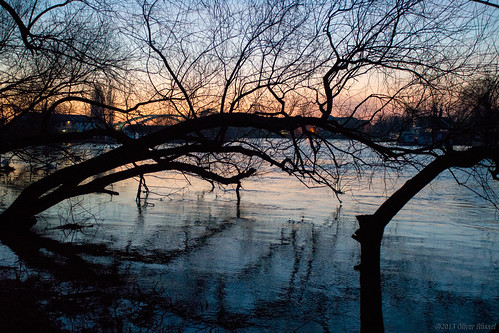 blue trees sunset orange water night reflections river dark nightshot oru riverthames waltononthames 2013