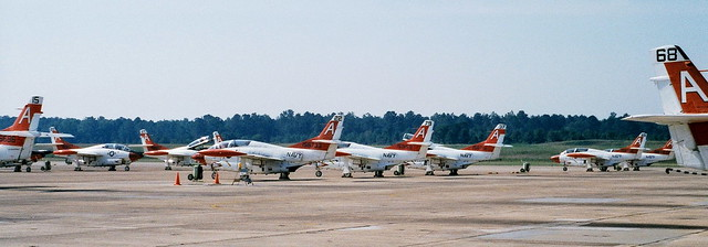 Some ten T-2C Buckeye aircraft from U.S.Navy Training Squadron NINE/ VT-9, Training Air Wing ONE/ TW-1 on the flightline at Naval Air Station/ NAS Meridian, Mississippi. August 1999.