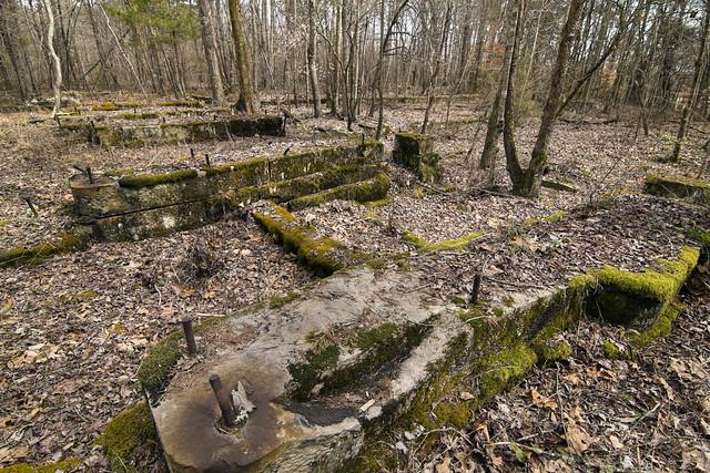 Cement foundation, ruins of Ravenscroft coal mine, White Co, TN