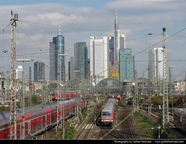 Skyline seen from Camberger Strasse, Frankfurt, Germany
