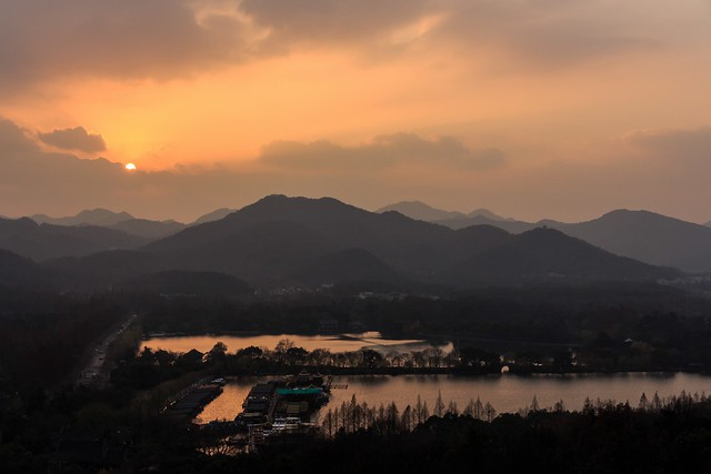 Sunset at West Lake Cultural Landscape of Hangzhou (UNESCO World Heritage Site)