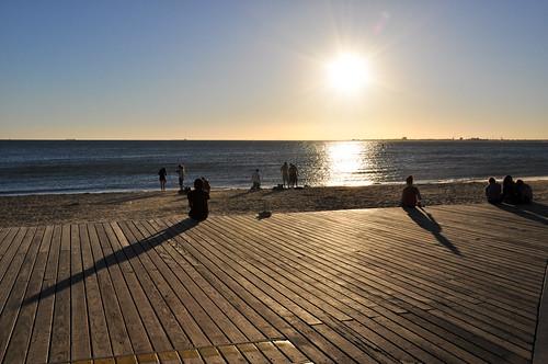 ocean city travel blue light sunset shadow sea summer people urban sun reflection beach water bay sand nikon horizon australia melbourne victoria explore australien stkilda sunbathe d90 explored