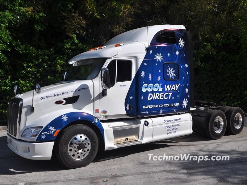 Semi tractor trailer truck can wrap