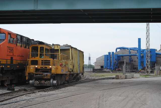 The Trackmobile shoves an old ATSF hopper car into the Amstead Rail Facility in Granite City Illinois