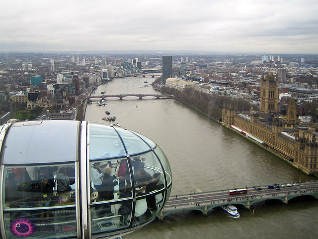 The river Thames and Westminster seen from the London Eye - London, England