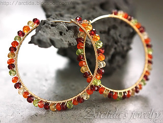 Gemstone hoops Carnelian Citrine Garnet Peridot hoop earrings in 14K gold filled. Handmade gemstone jewelry by Arctida. | by Arctida