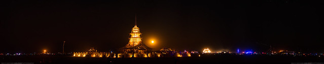Moonrise over the Temple of Juno, Burning Man 2012