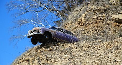auto old trees party cliff car canon vintage illinois missing automobile rocks location il ill vehicle unusual hillside eastdubuque t2i