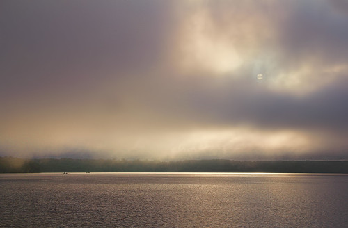 water lakedardanelle illinoisbayou dawn sunrise mist fog reflections fishing boats autumn