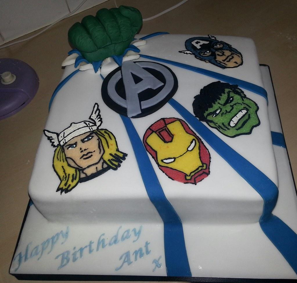 Outstanding Avengers Birthday Cake Avengers Birthday Cake I Made For M Flickr Funny Birthday Cards Online Drosicarndamsfinfo