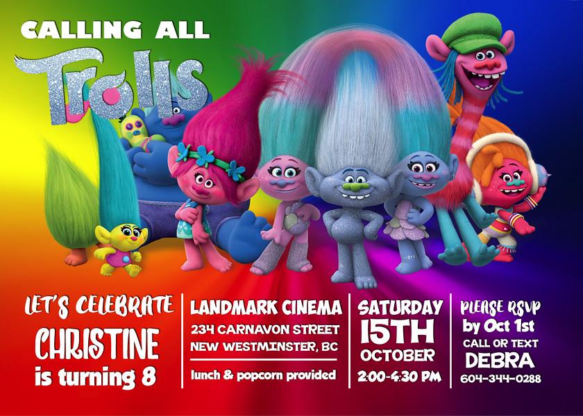 Trolls 2016 Digital Birthday Invite Trolls Movie 2016 Cu Flickr