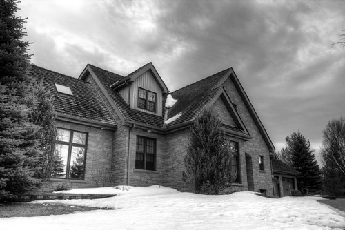 windows roof sky white house snow black building tree brick home monochrome architecture clouds landscape structure mansion hdr