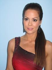 Red & Black Beaded shoulder dress - Brooke Burke - behind the scenes DANCING WITH THE STARS (3)