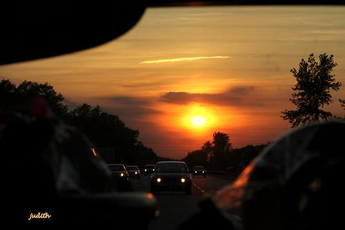 sunset sky traffic inthecar ontheroad atlanticcityexpressway