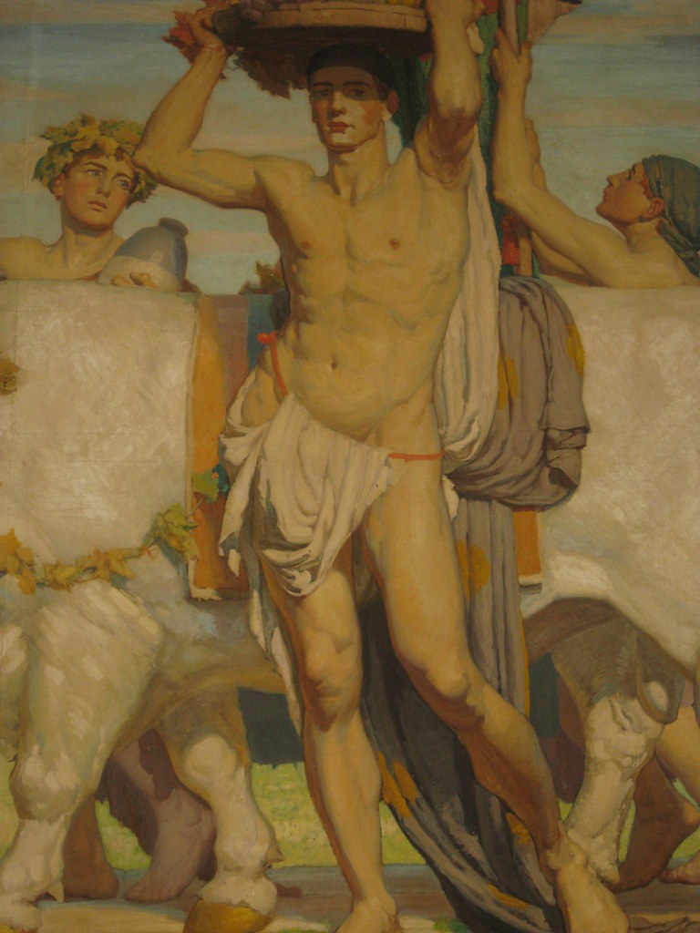 "Detail of ""Peace After Victory"" by Napier Waller; the Waller House - Fairy Hills"