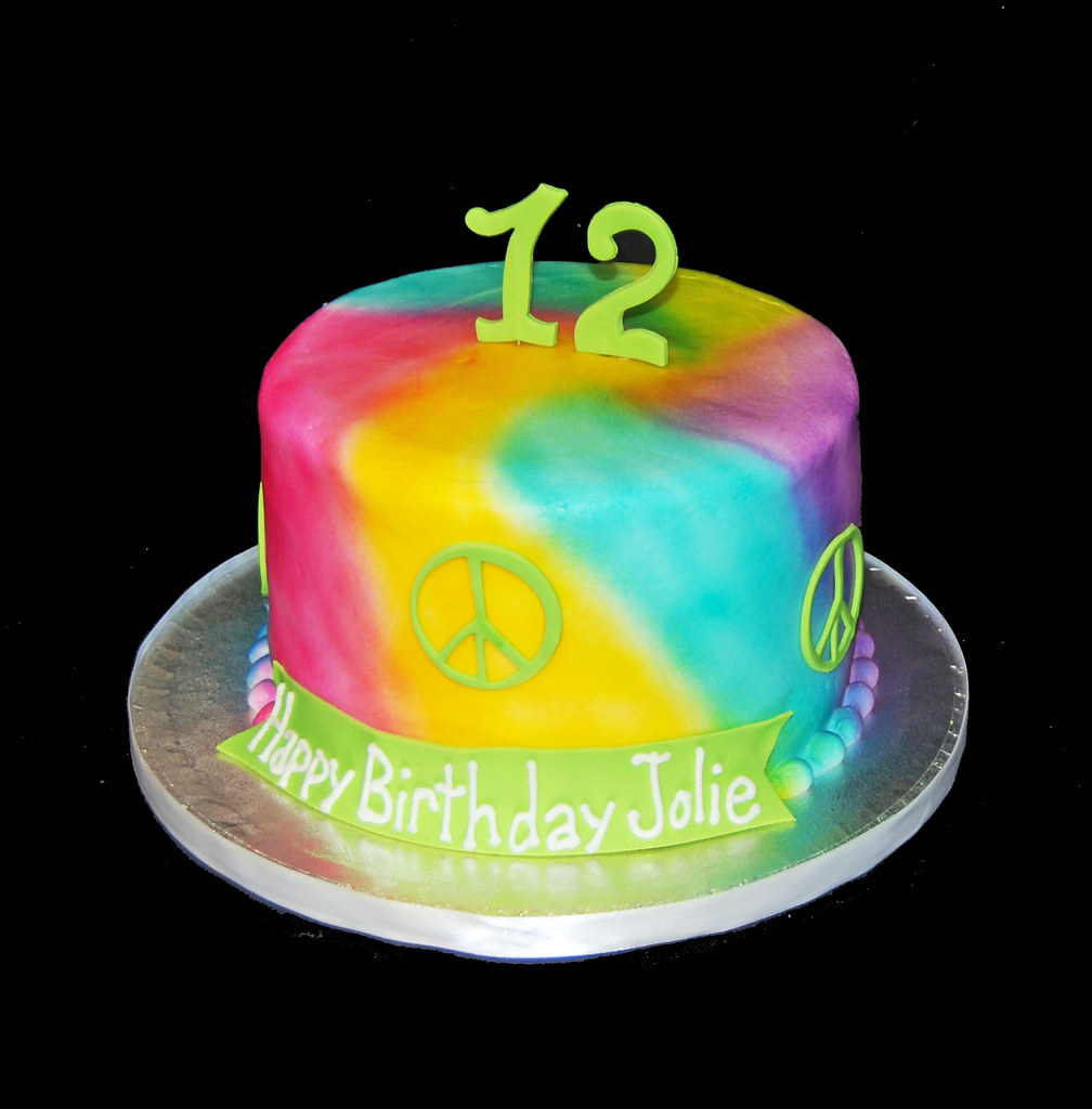 Awe Inspiring Tie Dye And Peace Signs Airbrushed 12Th Birthday Cake Flickr Personalised Birthday Cards Petedlily Jamesorg