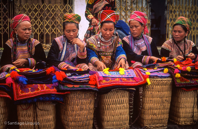 Flower Hmong women at the market