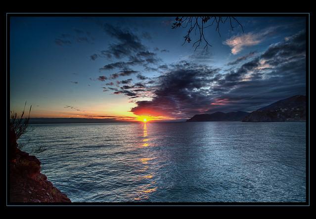 Sunset viewed from Manarola,  Italy