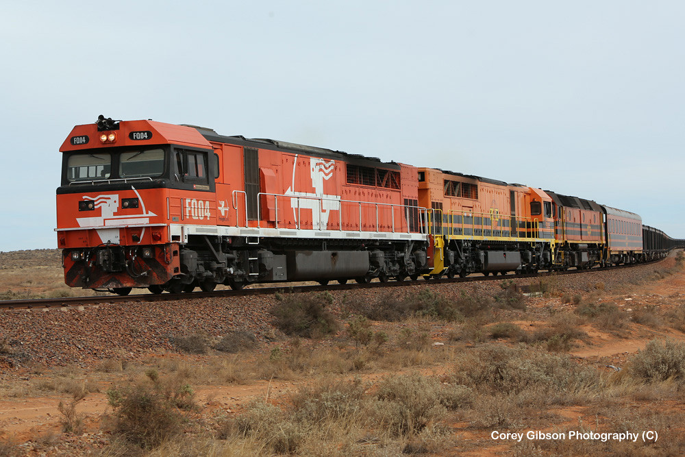 FQ04, FQ02 & 2212 ore train west of Port Augusta by Corey Gibson