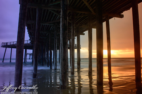 ocean california longexposure blue light sunset red orange cloud white black reflection green beach water colors yellow clouds landscape coast pier nikon surf waves pacific tide central shell rays pilings pismo slo carvalho d3200