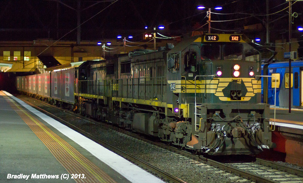 X42-X49 on #9462 up Maryvale Paper Train at Sth Yarra (3/5/2013). by Bradley Matthews
