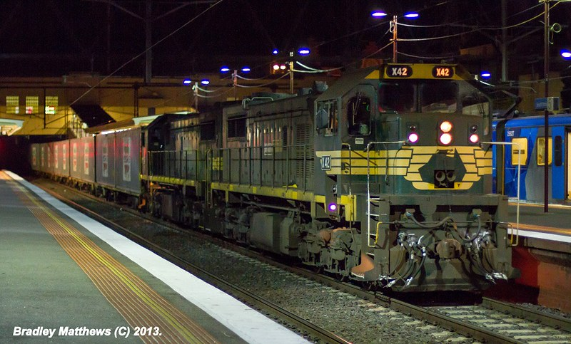 X42-X49 on #9462 up Maryvale Paper Train at Sth Yarra (3/5/2013) by Bradley Matthews