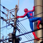 OKINAWA ELECTRIC COMPANY HIRES SPIDER MAN FOR SOME DANGEROUS LINE WORK -- Aligning the Pole Angle to Release a Voltage Stack from the Sky Hook   *  *  *  RANDOM SOBA :  www.flickriver.com/photos/24443965@N08/random/