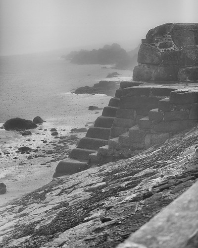 sea fog mono nik silvereffects seashore blackrock steps