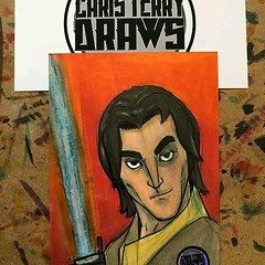 """Reposting @christerrydraws: ⠀ ...⠀ """"#StarWarsADay day 8 Ezra from rebels. It's on a sketchcard done with ink and @copicmarker from @otakufuel. dm me if interested in purchasing #starwarsart #starwars #christerrydraws #sketchcard #copicmarkers #marvel #com"""