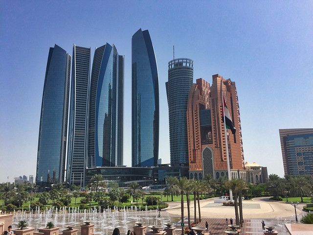 Jumeirah Hotel at Etihad Residences, Grand Hyatt and Bab Al Qasr Hotel viewed from the Emirates Palace Hotel, Abu Dhabi